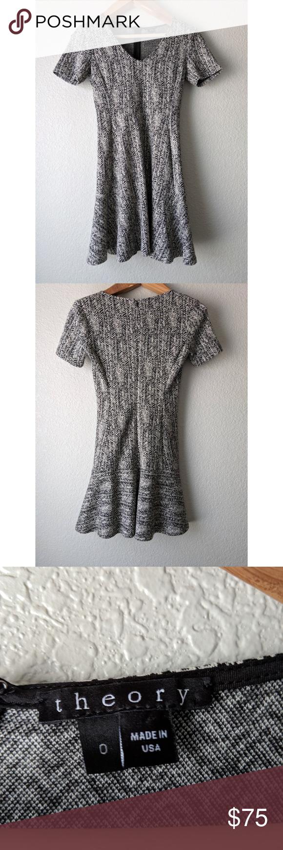 Theory Nikay Black Fit-n-Flare Dress S | Fit n flare dress