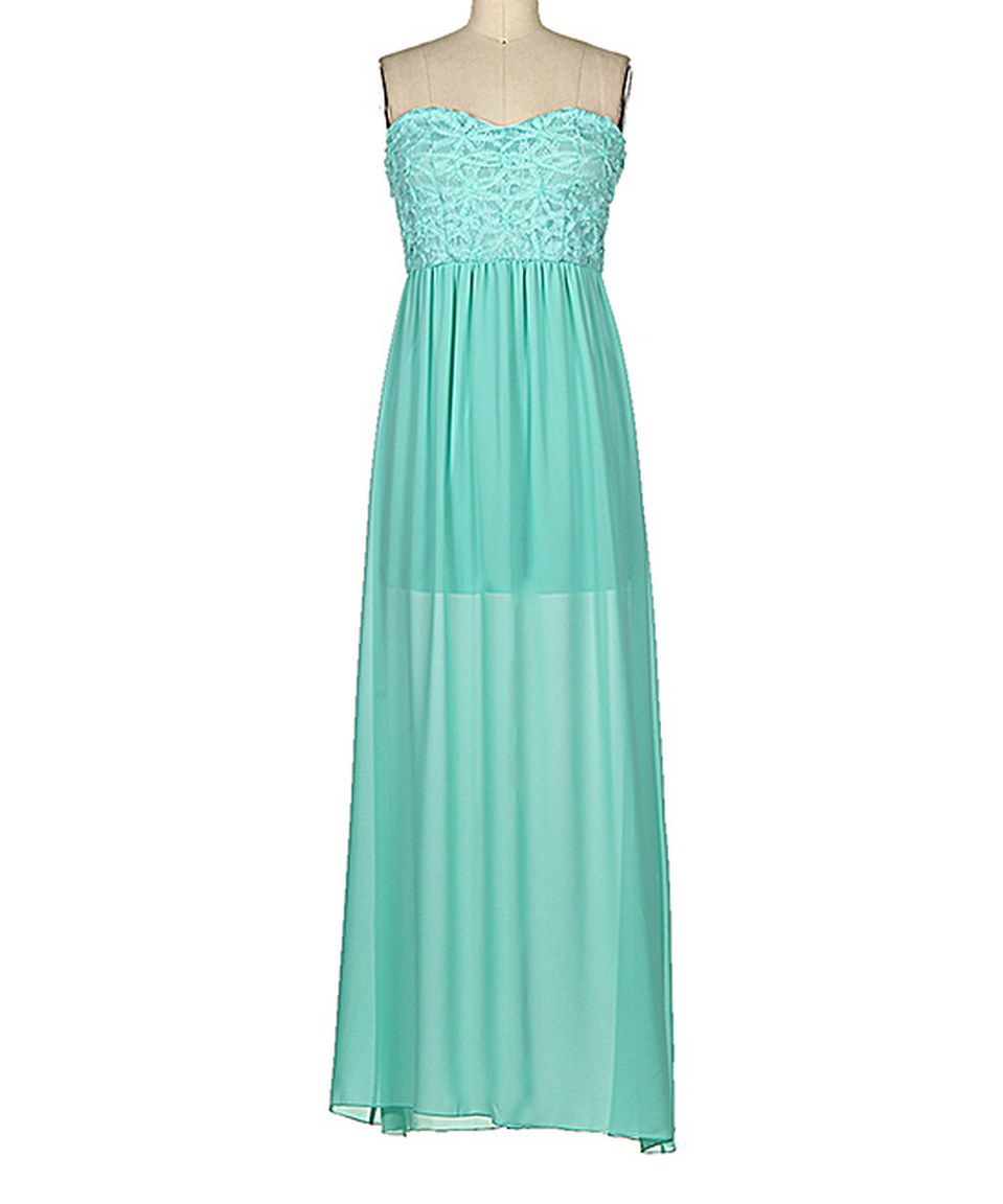 Another great find on zulily fashionomics mint lace strapless maxi