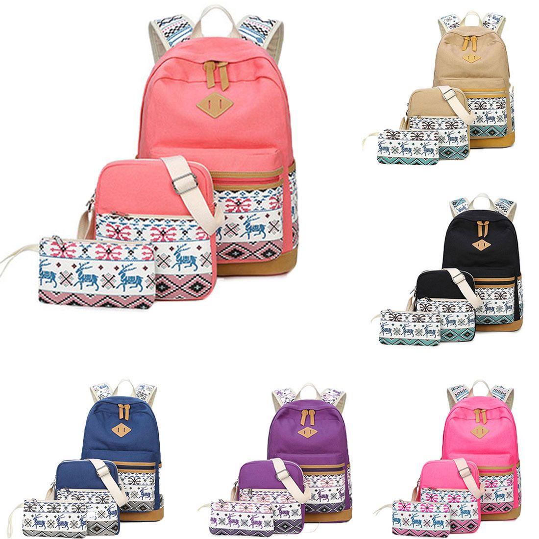 7de3cba36c9b 3Pcs Set Backpack Women Canvas Travel Bookbags School Bags For Teenage Girls