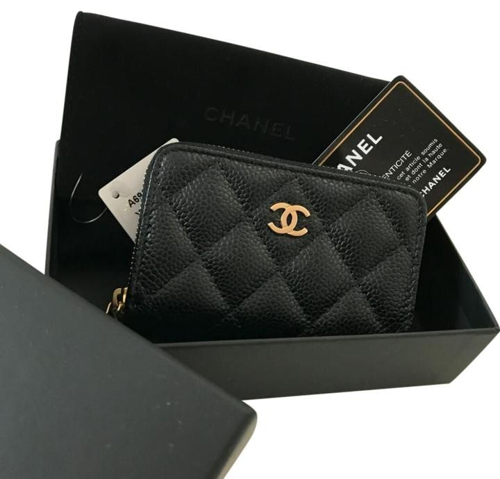 e80e46e6cdec Chanel Chanel Classic Zip Around Coin Purse Card Holder Wallet Black Caviar  Gold Hardware