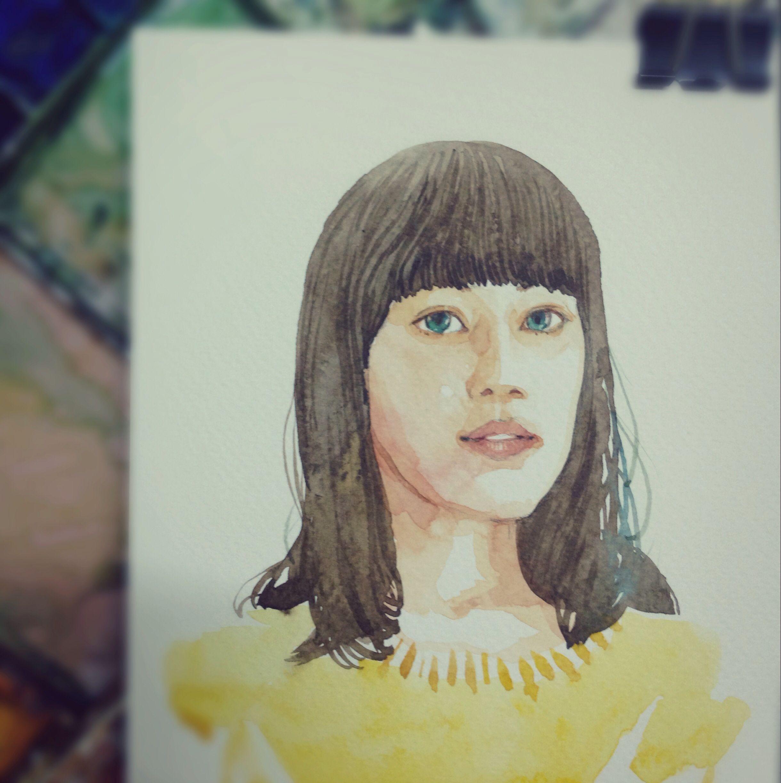 portrait again   ทดลองอะไรหน่อย ;) #watercolor #painting