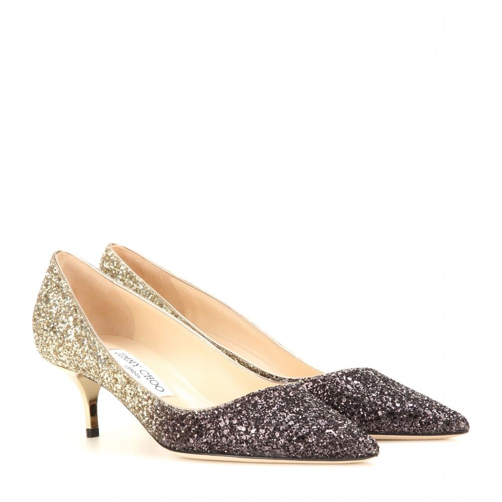 Jimmy Choo - Aza glitter pumps - Put your best foot forward this party season in Jimmy Choo's glitter pumps. We love the black-to-golden ombré glitter. Show off the coquettish kitten heel next to an LBD. seen @ www.mytheresa.com