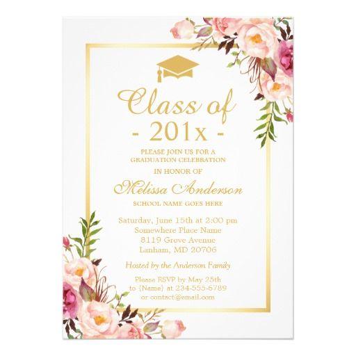 Class Of 2021 Graduation Elegant Chic Floral Gold Invitation Zazzle Com Floral Bridal Shower Invitations Floral Invitation Floral Wedding Invitations