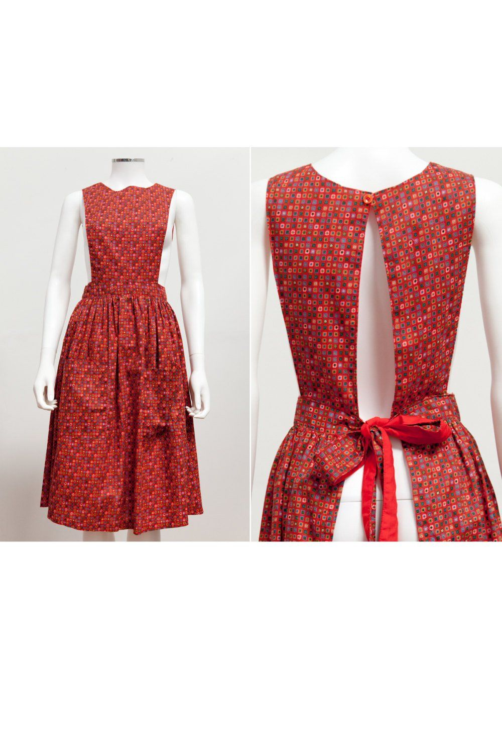 e7c5afa74b1 Vintage 60 s Pinafore Apron Dress Ditzy Print Jumper