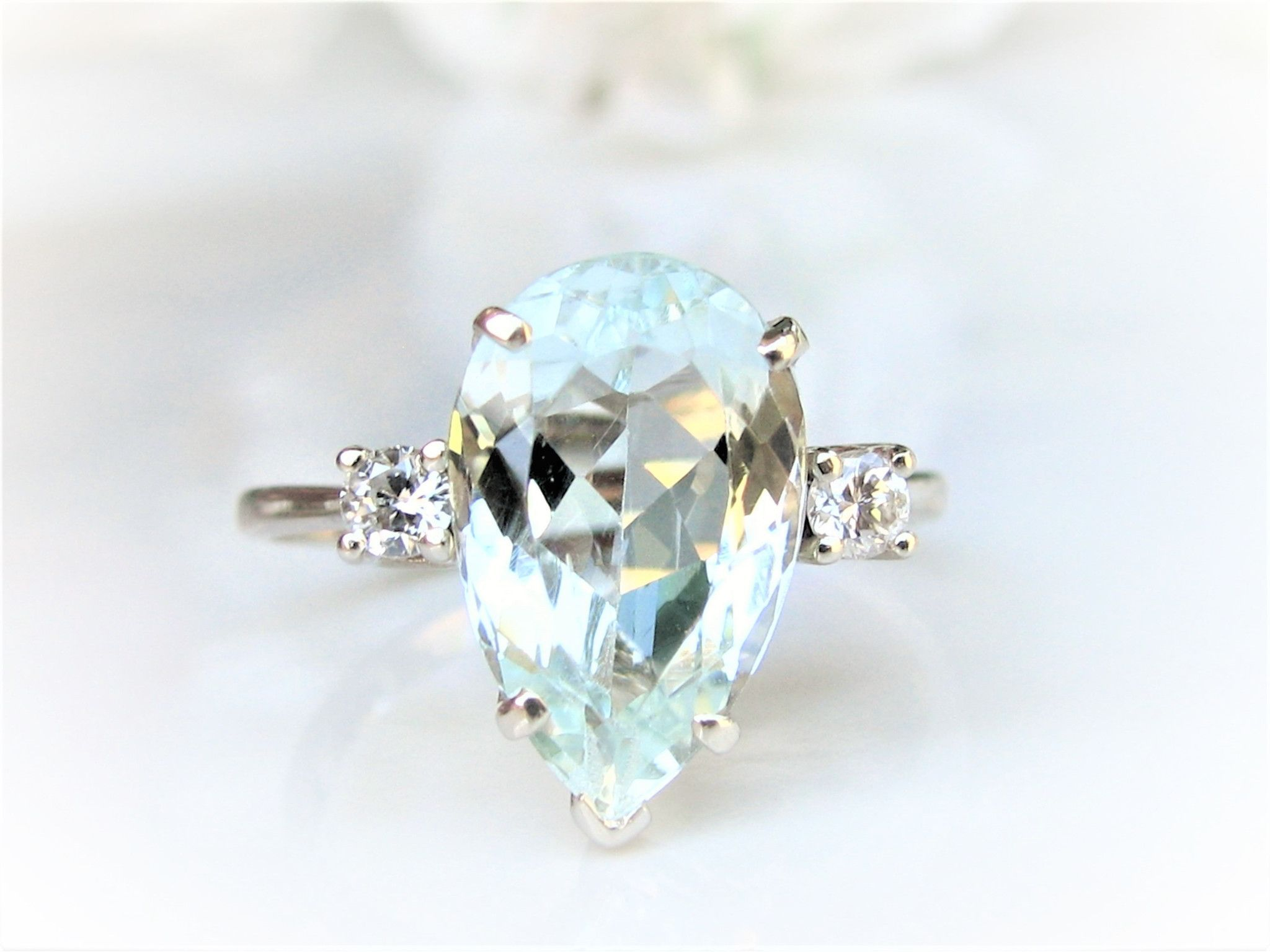 2.98CT Pear Shape Diamond Engagement and Wedding Ring Set 14K White Gold Over