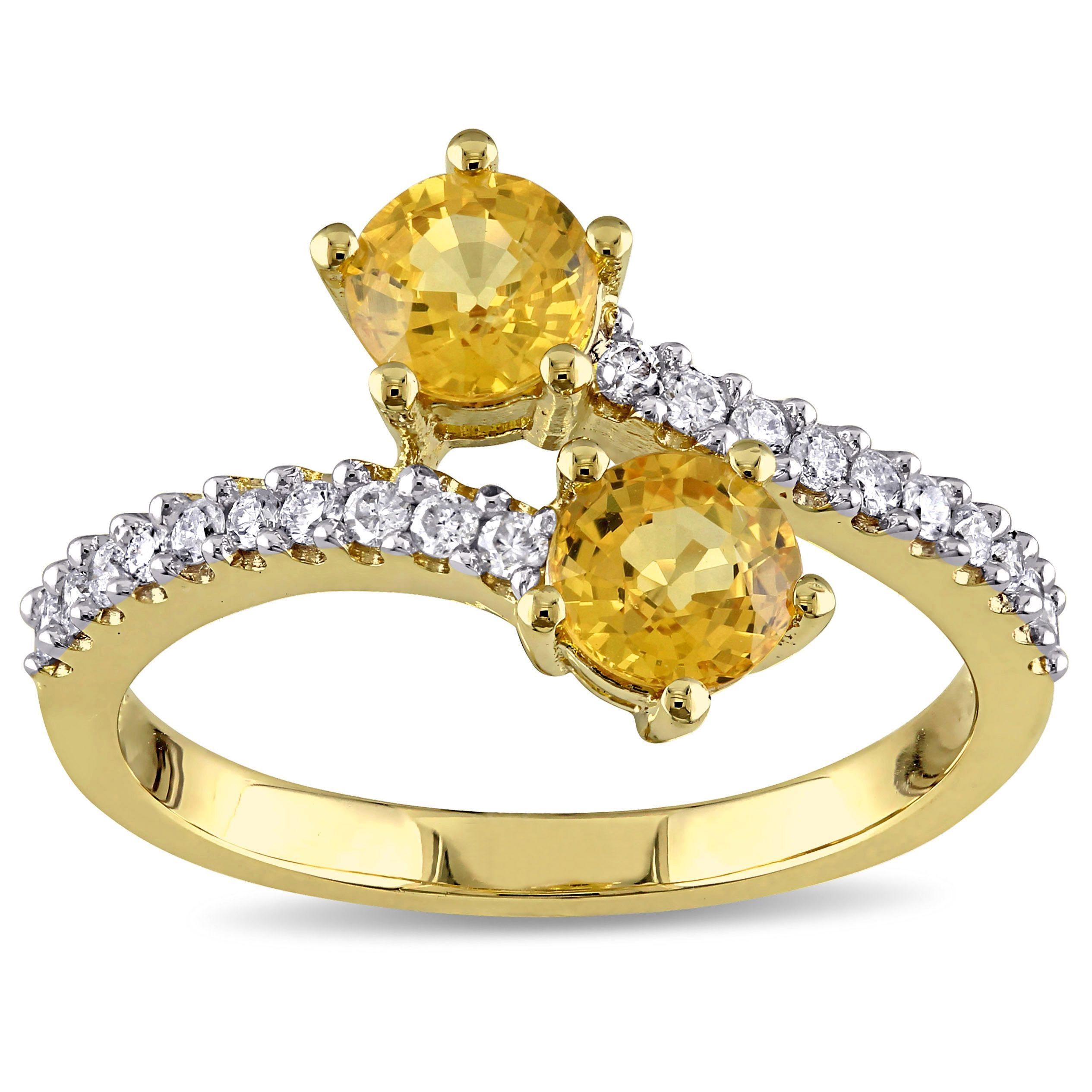 Miadora signature collection 14k white gold 1ct tdw diamond double row - Miadora Signature Collection 10k Yellow Gold Yellow Sapphire And 1 5ct Tdw Diamond Bypass Ring G H I2 I3 Size 10 Women S