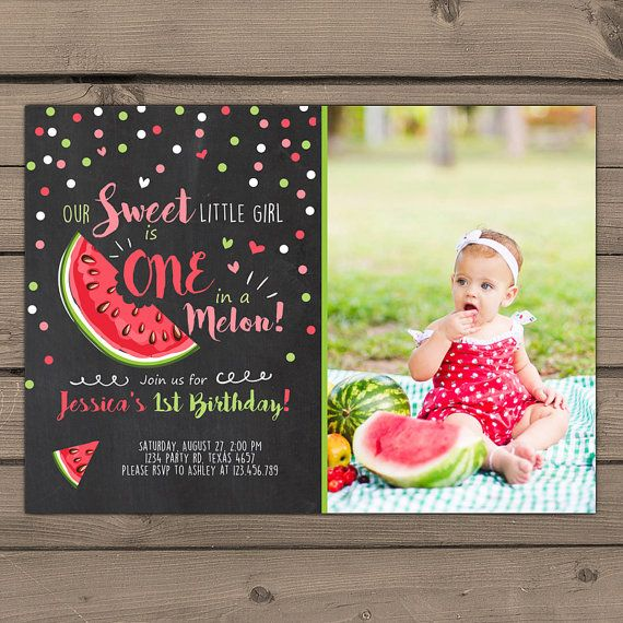 Watermelon Birthday Invitation One In A Melon First Birthday - Digital first birthday invitation