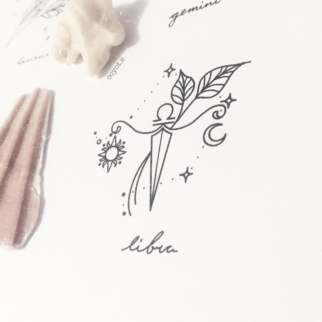 "Tattoo Designer on Instagram: ""And the last design in this series of small and simple zodiac tattoo designs: Libra 💕✨"""