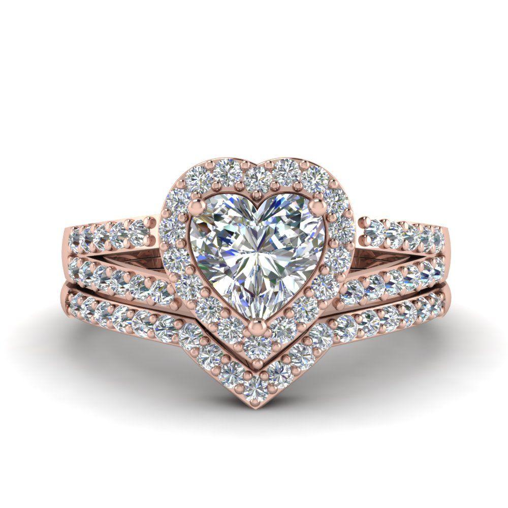 Heart Halo Diamond Wedding Ring Set In 14K Rose Gold