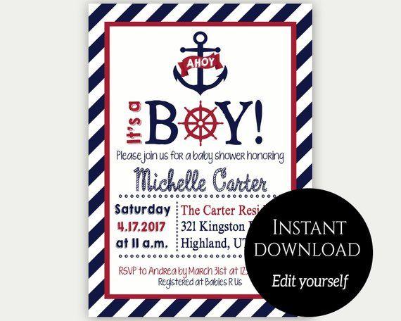 Baby Shower Invitation Template Nautical Baby Shower Invite