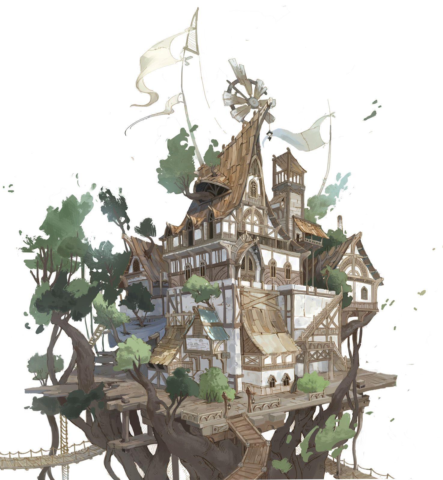 Tree house, sehee park on ArtStation at https://www ...