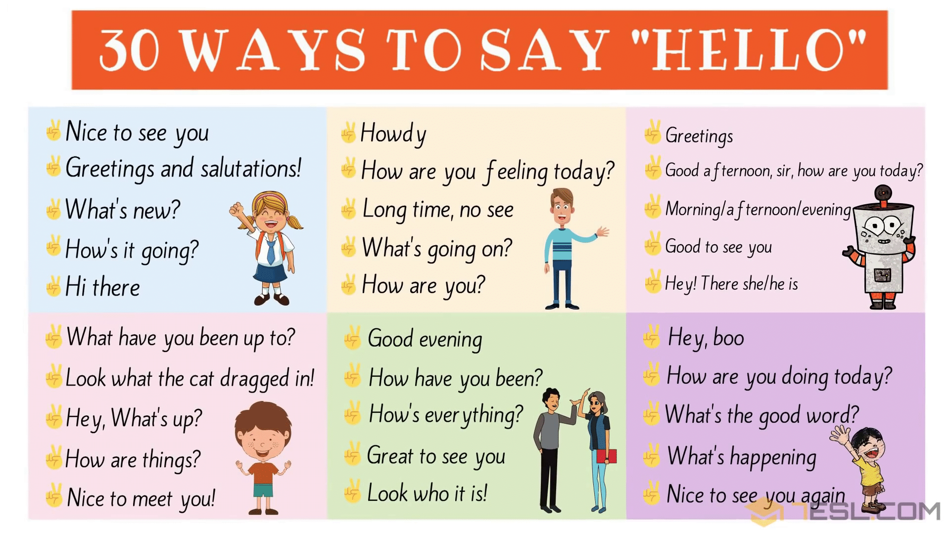 30 Ways To Say Hello In English Useful Hello Synonyms 7esl Ways To Say Hello How To Say Hello Learn English