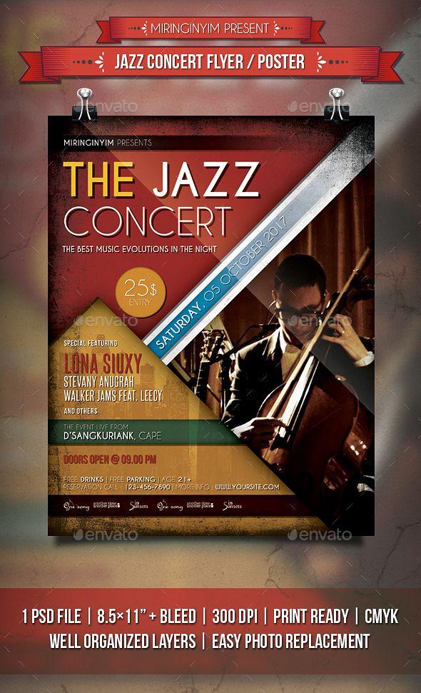 Jazz Concert Flyer / Poster. Fully editable flyer template. #flyer #design #printDesign #template #acoustic #band #club #concert #dance #event #EventFlyer #festival #gig #heart #jazz #LiveMusic #love #music #night #party #poster #PosterTemplate #PrintTemplate #red #typography