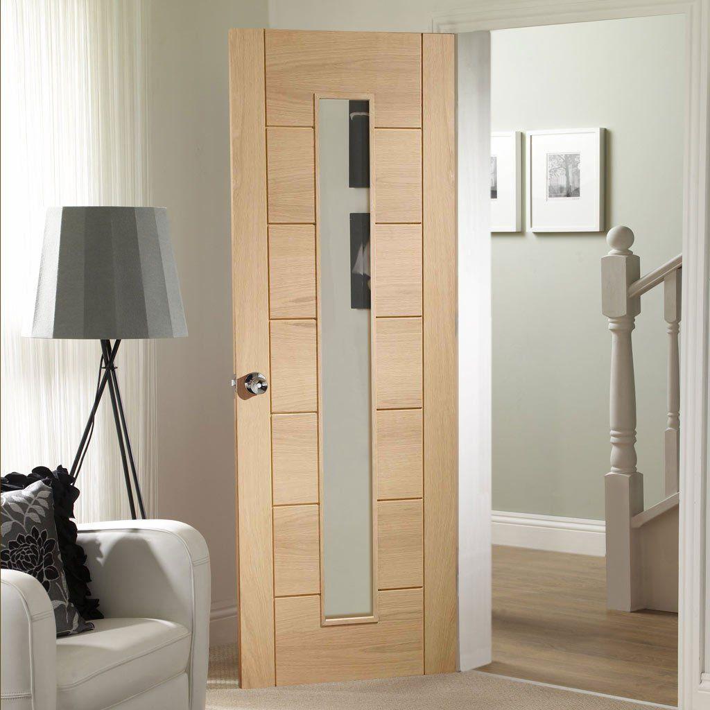 Door Set Kit Palermo Oak 1 Pane Clear Safe Glass