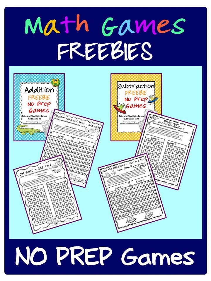 FREEBIES - NO PREP Math Games for addition and subtraction - just ...