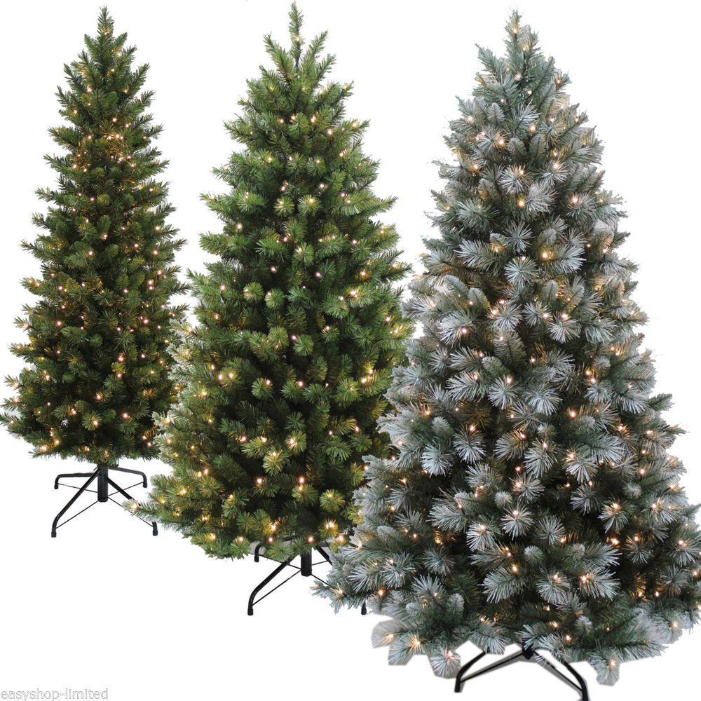 7ft Black Pre Lit Christmas Tree: Details About Luxury 6Ft Or 7Ft Pre-Lit Christmas Tree