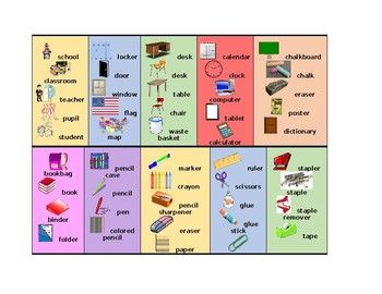School Objects In English Desk Strips Italian Vocabulary - Italian Furniture Vocab