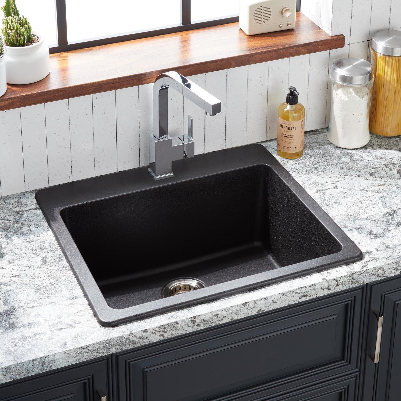 25 Totten Granite Composite Drop In Kitchen Sink In Black