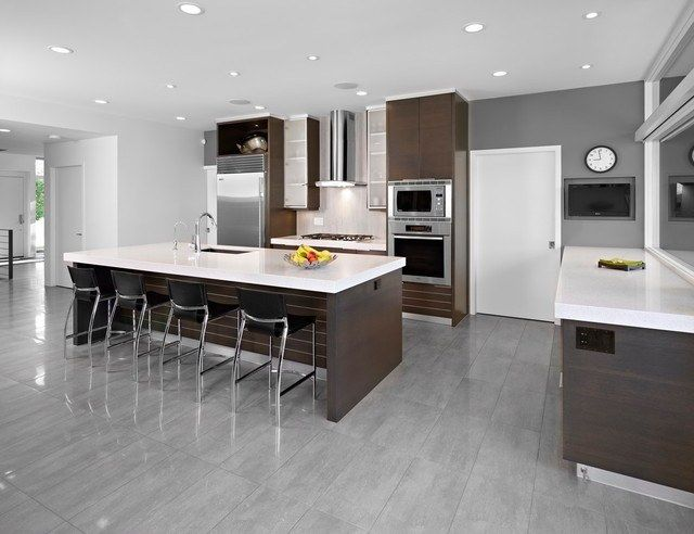 15 Cool Kitchen Designs With Gray Floors Grey Kitchen Floor Brown Kitchen Cabinets Modern Kitchen Interiors