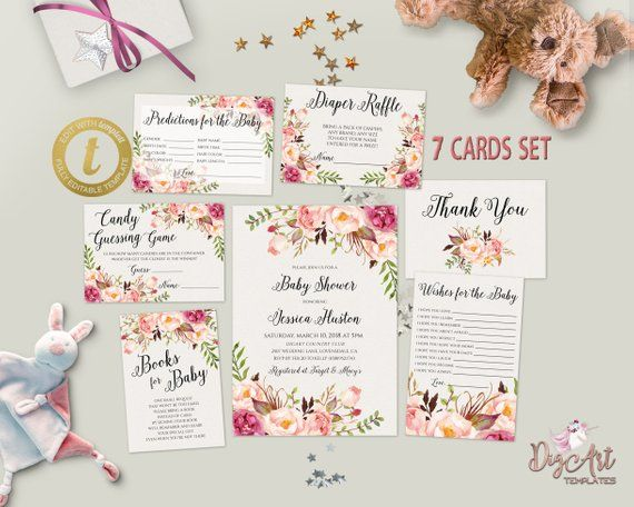 printable boho floral baby shower invitation template set editable