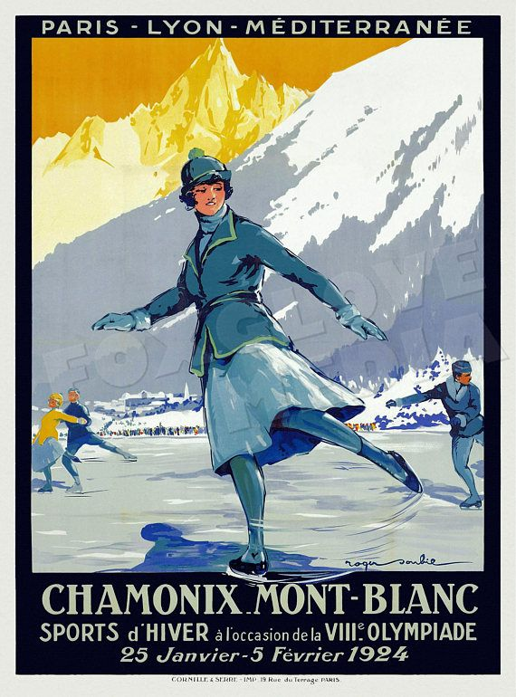 POSTER LE MONT BLANC CHAMONIX FRENCH ALPS TOURISM TRAVEL VINTAGE REPRO FREE S//H