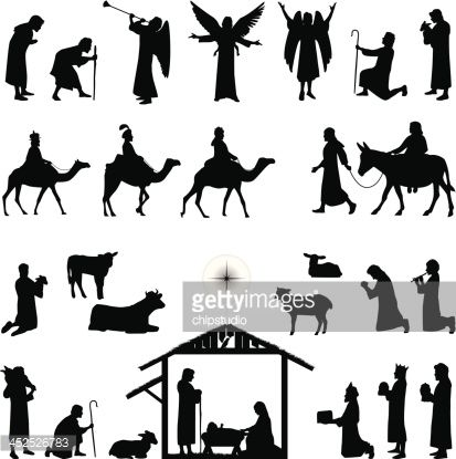 Collection of Christmas Nativity silhouettes including angel ...