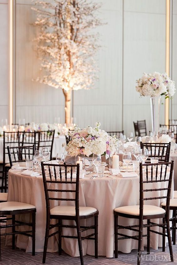 30 Chic Blush And Black Wedding Color Theme Ideas: #24. Blush and ivory wedding table setting, dark chairs