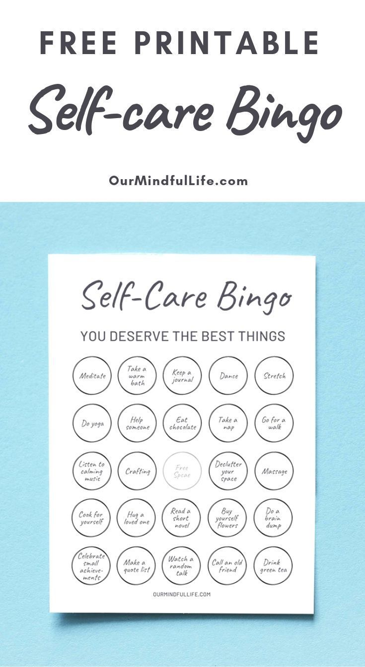 A Free Printable Bingo Game To Make Your Self-care Routine Fun Again  – Mindfulness Printables