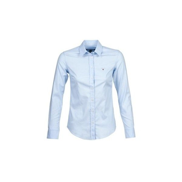 Gant ALOUTI Shirt ($160) ❤ liked on Polyvore featuring tops, blue, shirts
