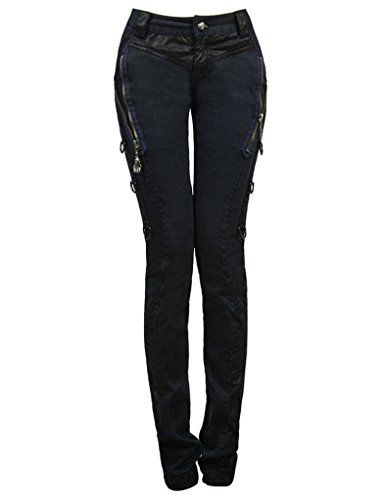 Stretch-Jeans Jeggings Hüfthose Hauteng Gothic Punk Rave Visual Kei Röhren K-196
