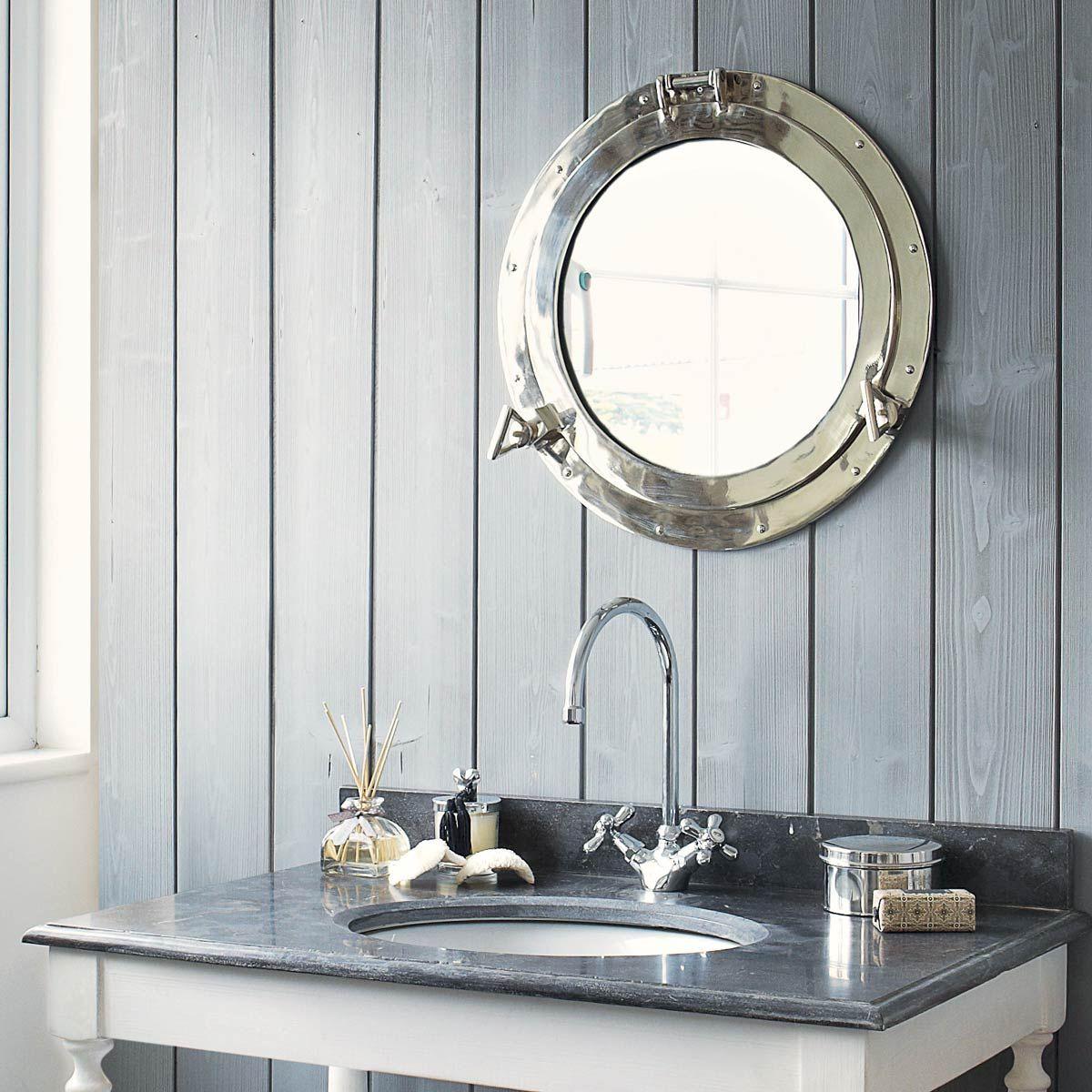miroir hublot en m tal h 51 cm zee pinterest miroir hublot miroir et miroir salle de bain. Black Bedroom Furniture Sets. Home Design Ideas