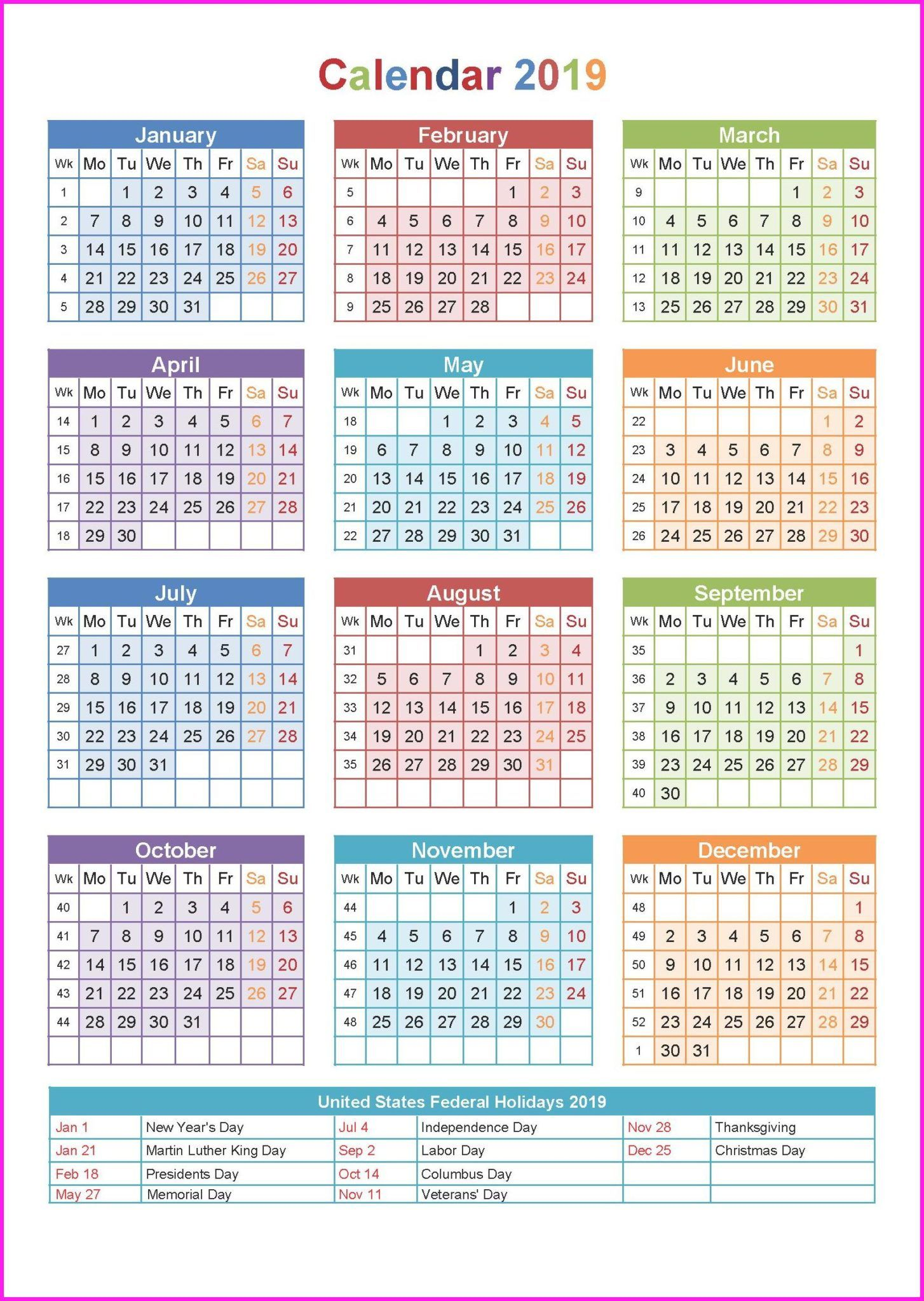 photograph relating to Printable Calendar on One Page identified as 2019 Trip Calendar United states of america On a yearly basis Calendar within A person Website page
