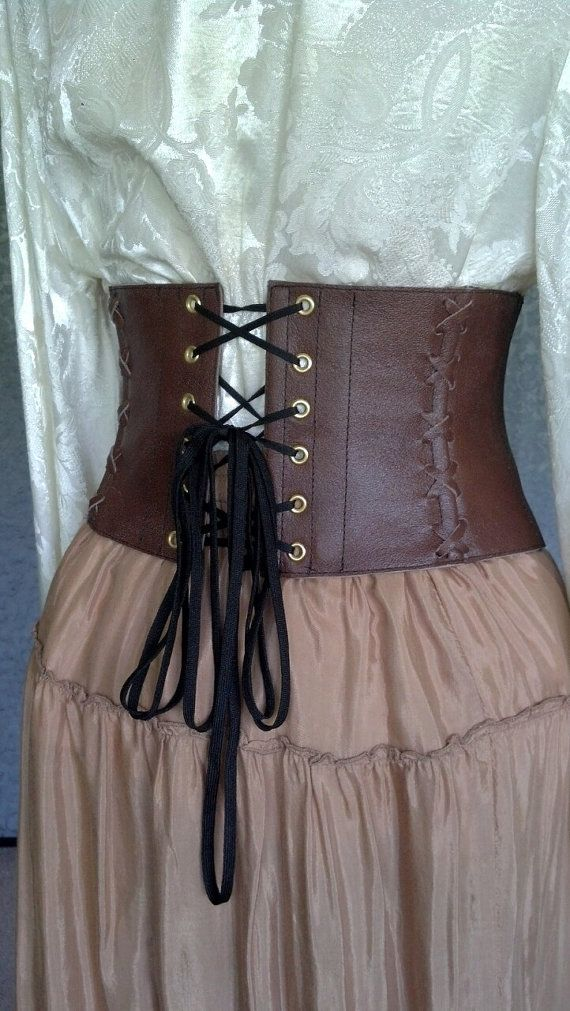 36acdc0959 Exquisite Black Leather Steampunk   Pirate   Renn Faire Corset Belt   Waist  Cincher -CUSTOM MADE to your size in 2018