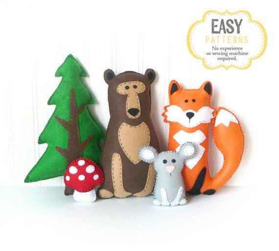 Woodland Stuffed Animal Patterns, Easy Hand Sewing Patterns for Felt ...