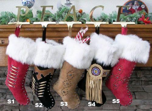 Cowboy/Indian Rabbit Fur Suede Christmas Stocking | Native ...