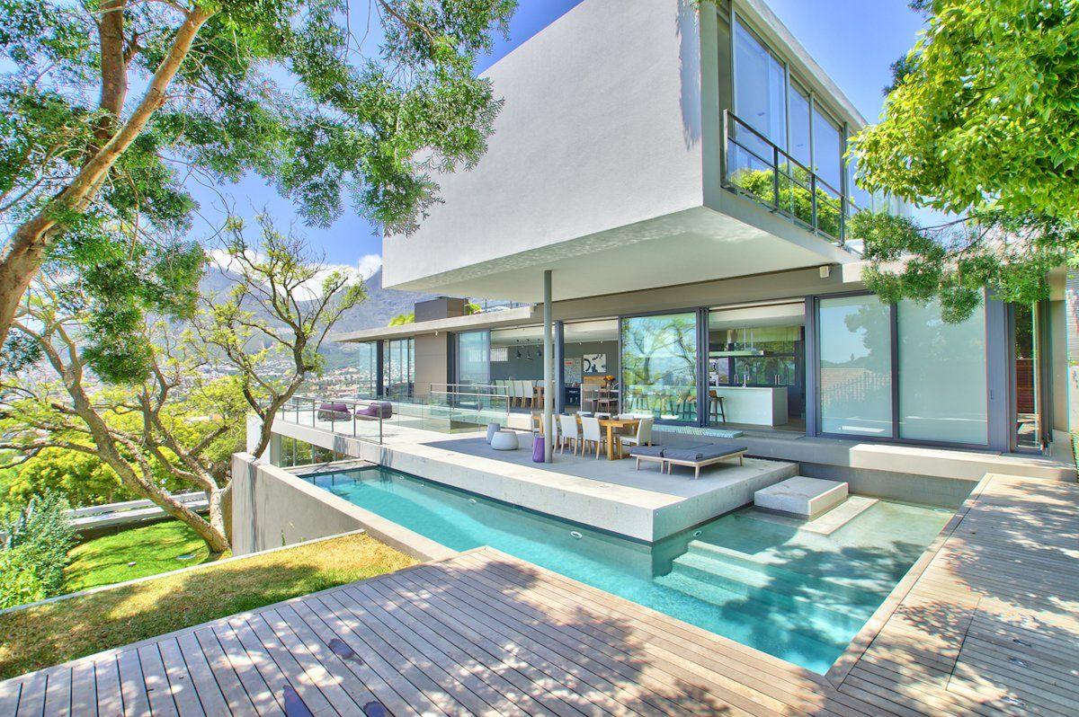 outdoor pool  wood deck  glass sliding doors  house in tamboerskloof  cape town