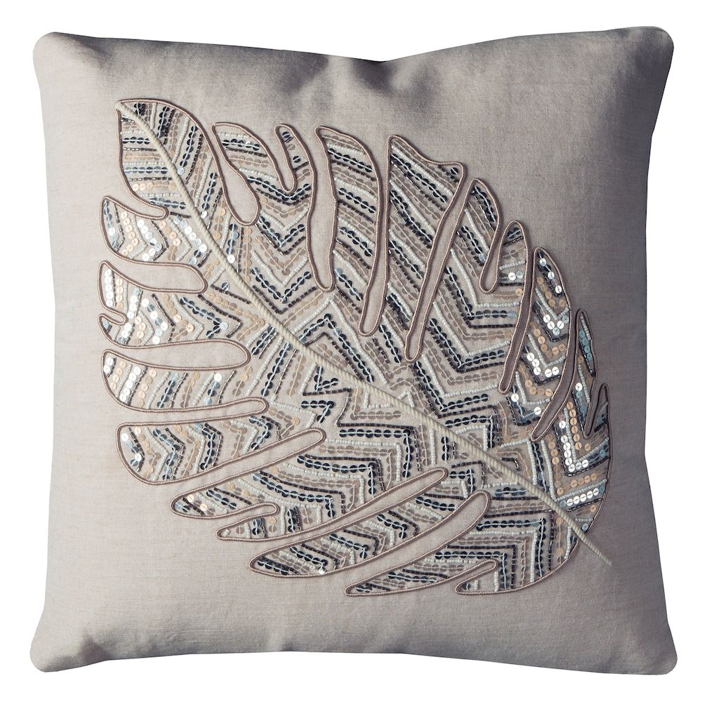 Rizzy home leaf pattern sequins throw pillow products