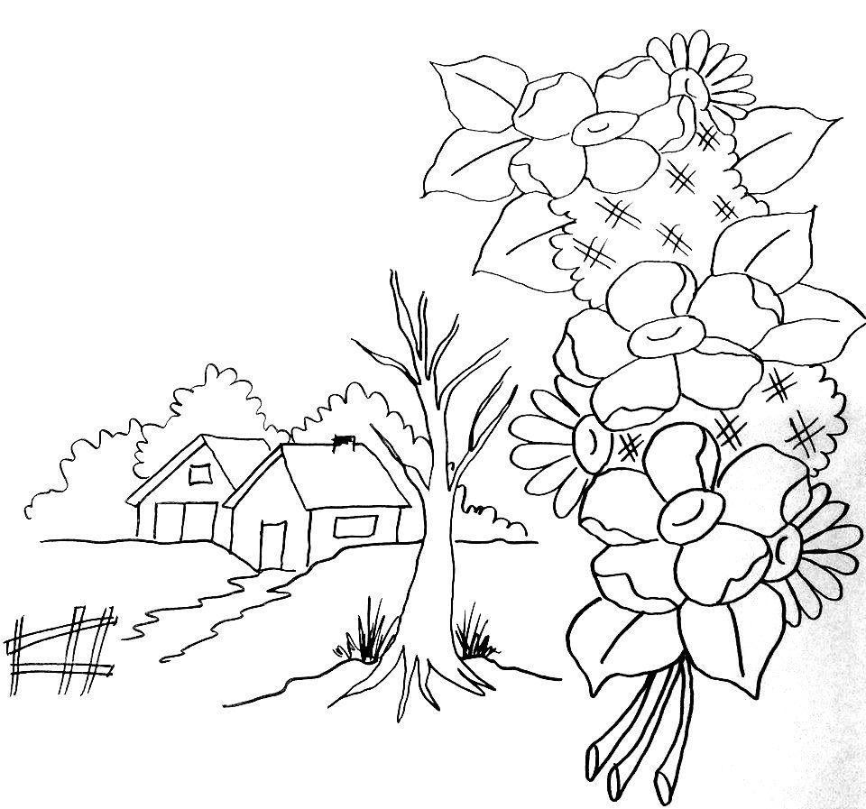 Risco De Paisagem Para Pintar Desenhos Riscos Para Pintura