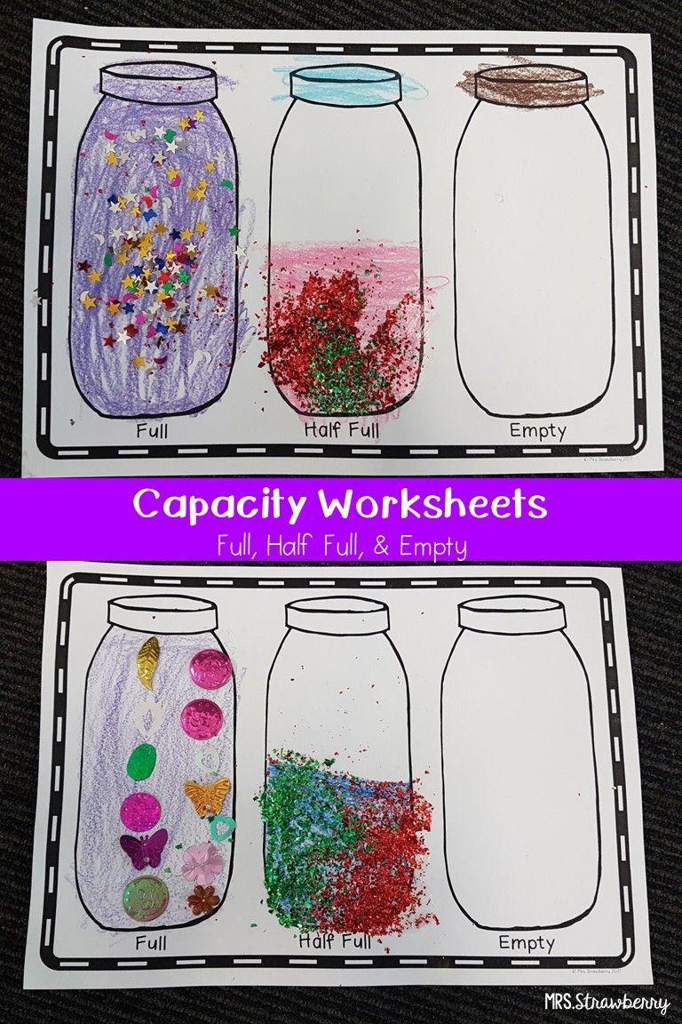 Capacity Worksheet Full Half Full Empty Capacity Worksheets Math Activities Preschool Kindergarten Activities [ 1152 x 768 Pixel ]