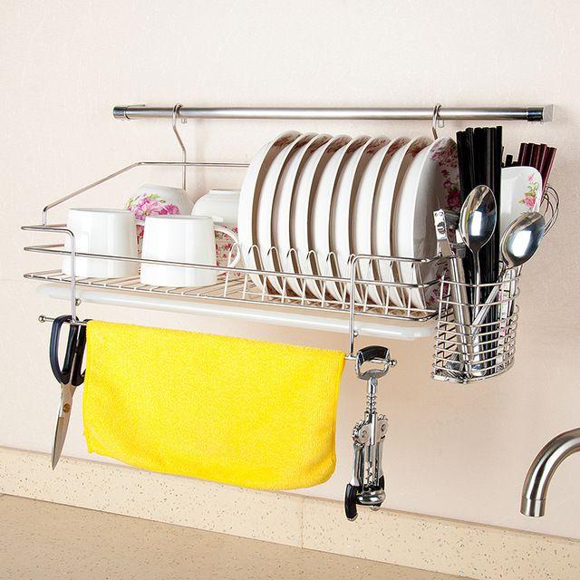 Dapai casa top 304 de acero inoxidable doble conejera escurridor plato  estante de la pared colgante de agua de la cocina y la placa estante bd46f5a6ae47