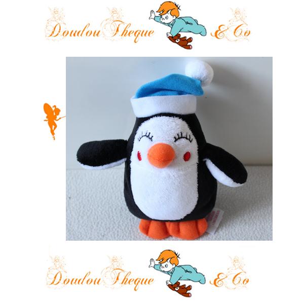Peluche pingouin PRIMARK EARLY DAYS noir et blanc bonnet bleu 15 cm