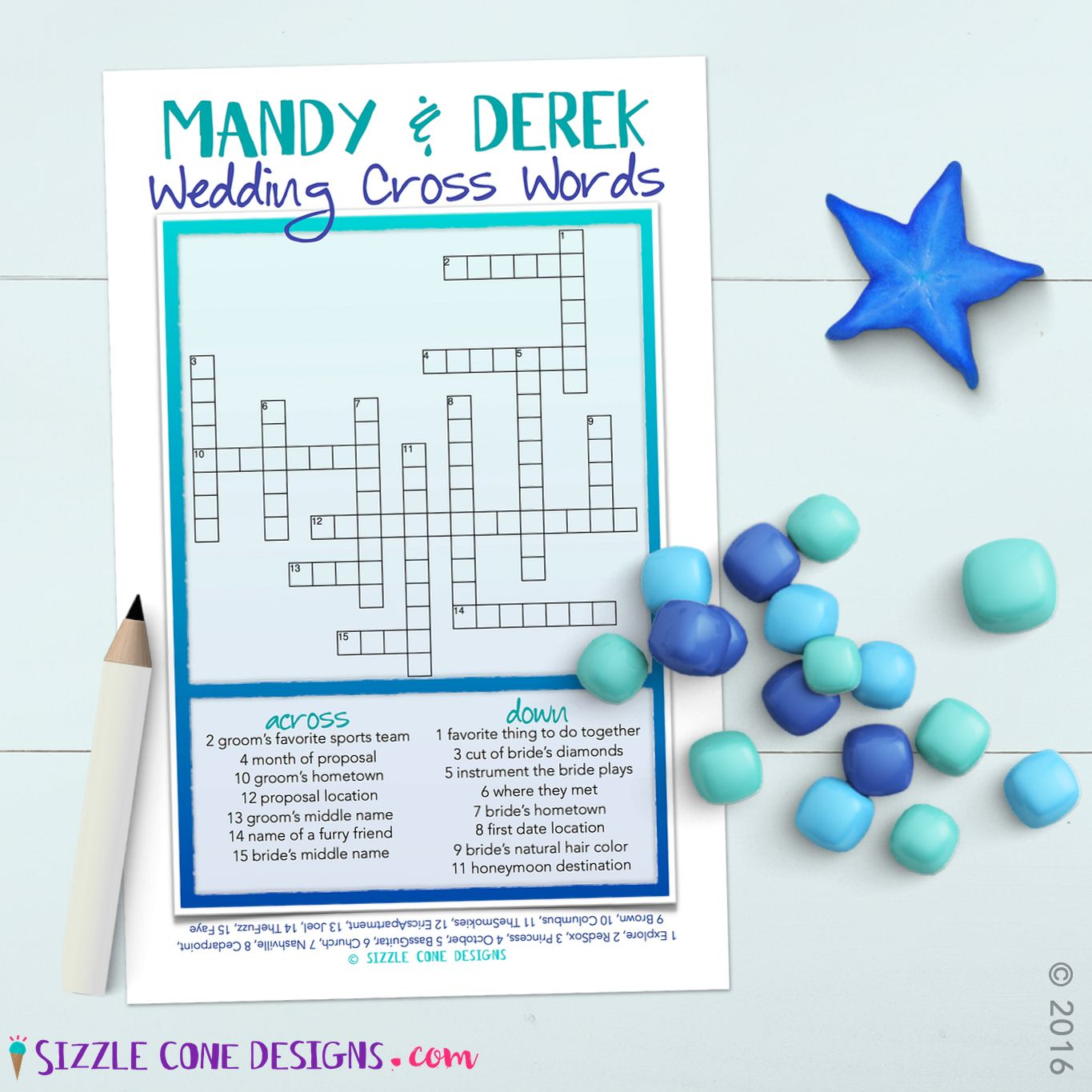 custom wedding crossword puzzle cards printed or printable quiz your guests on how well they know the lovestruck pair its the perfect activity for