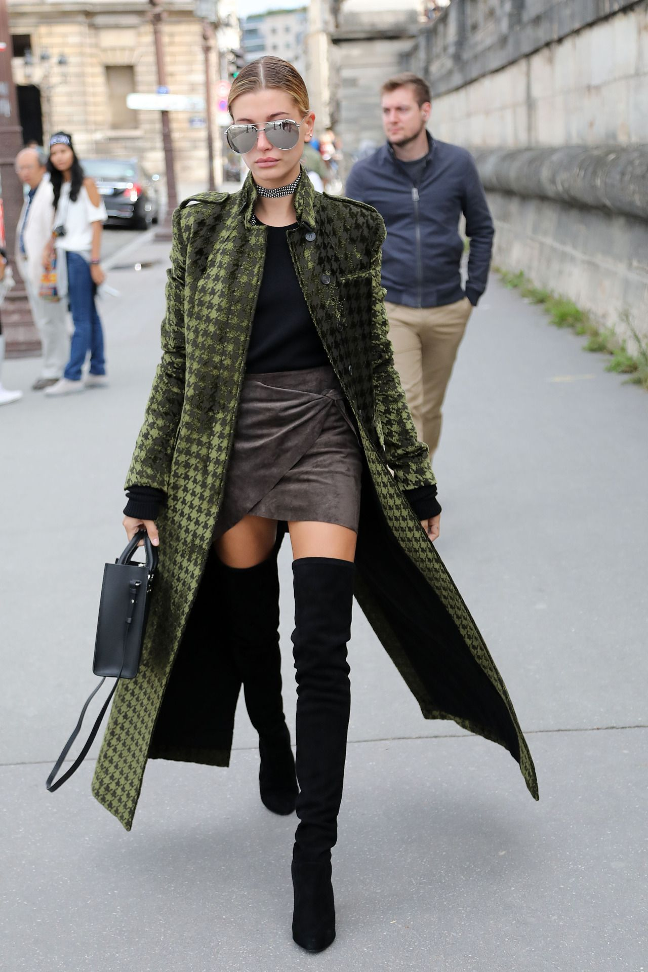 Hailey Baldwin street style with printed coat, mini skirt and over the knee  boots (October