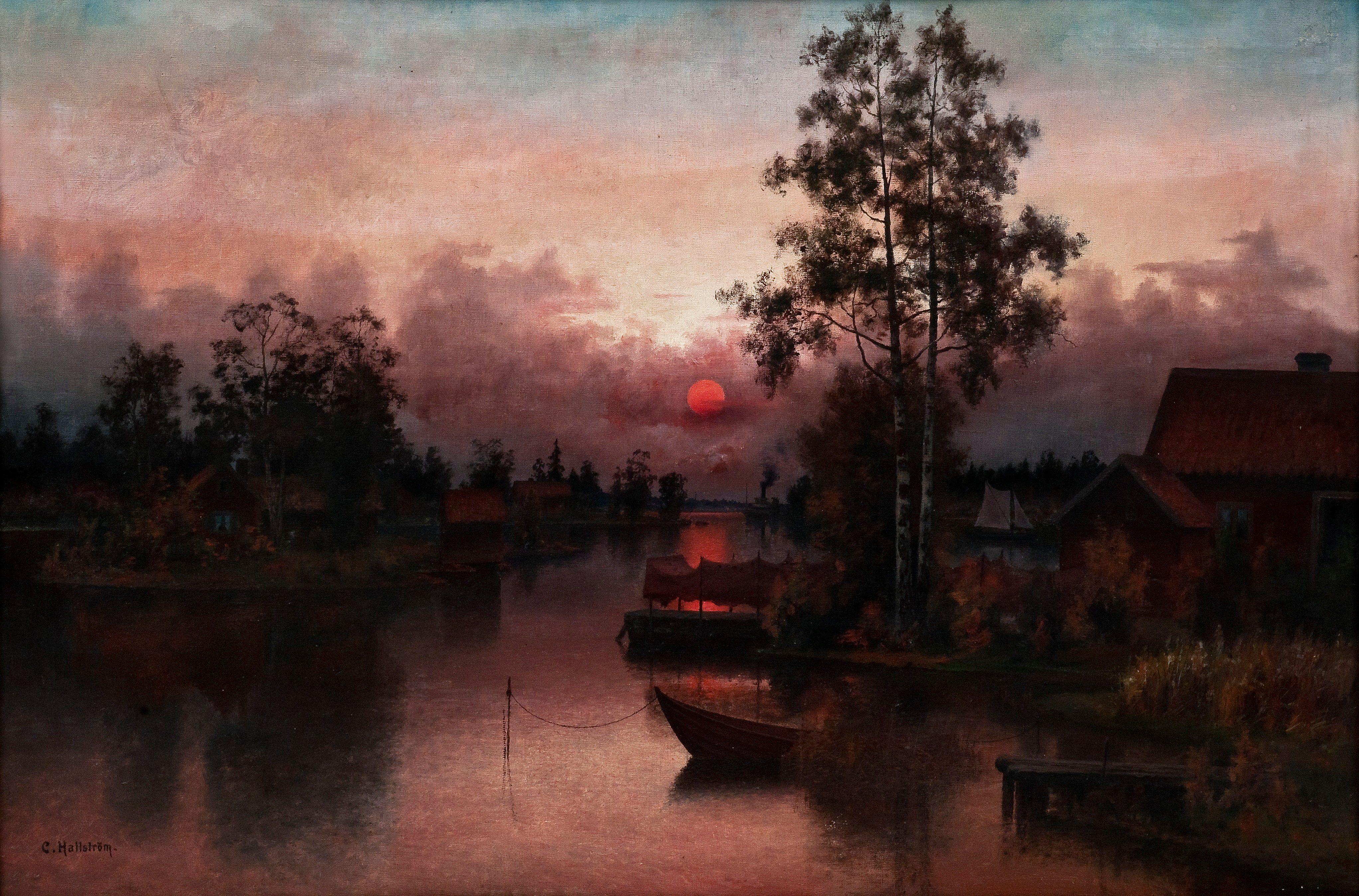 Carl Hallstrom 1850 1929 Aftonrodnad Illustration Konst Sverige