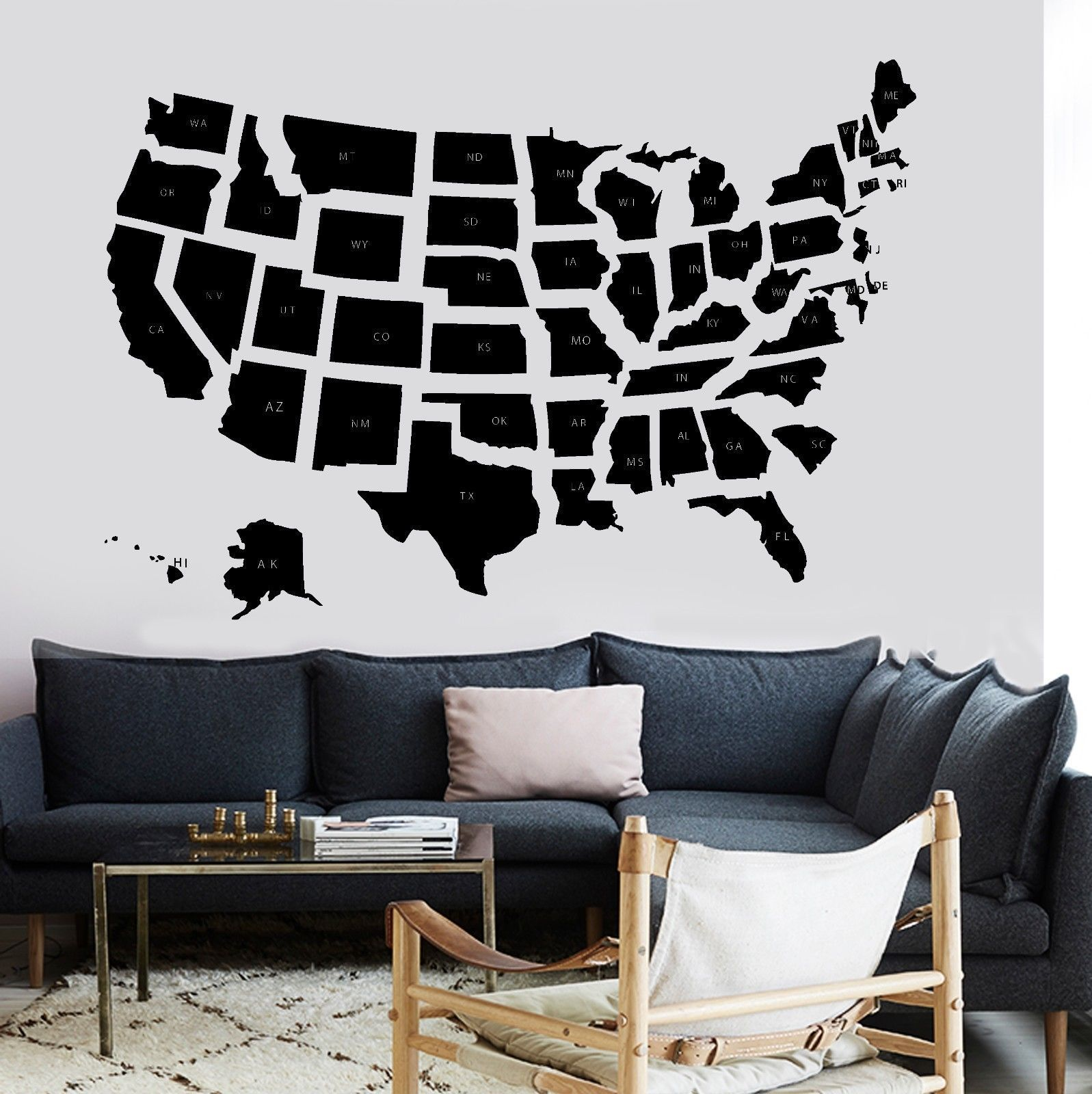 new popular home wall decal map usa premium quality school states vinyl sticker free shipping