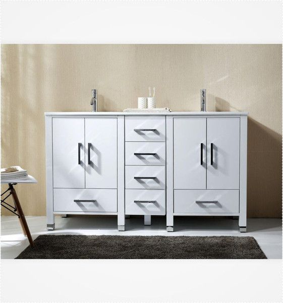 Anziano 60 Inch High Gloss White Bathroom Vanity Double Sink W