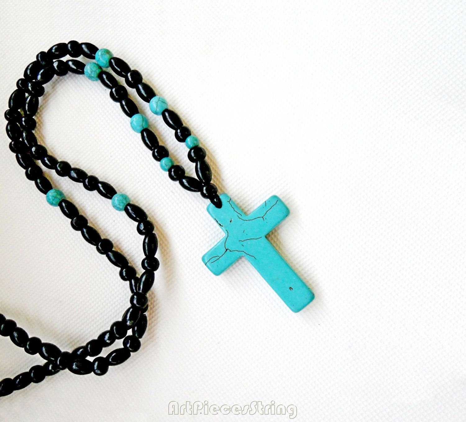 Simple Cross Necklace Turquoise Beads Necklace Blue Simple Cross