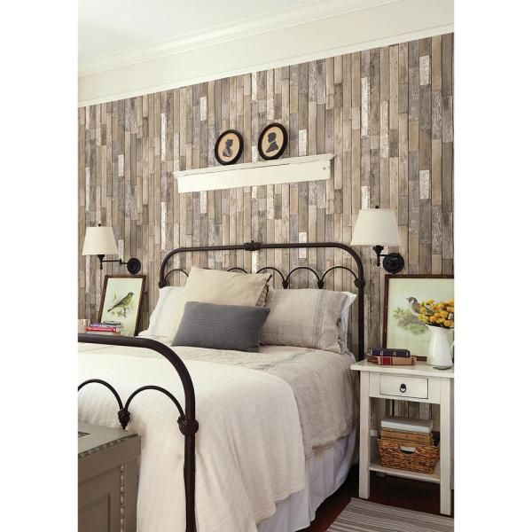 Brewster Barn Board Brown Thin Plank Paper Strippable Wallpaper Covers 56 4 Sq Ft Fd23274 The Home Depot Feature Wall Wallpaper Home Decor Wood Wallpaper