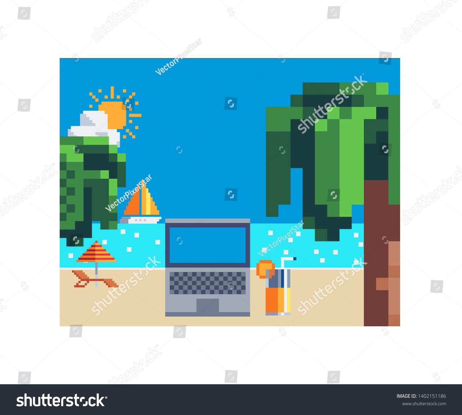 Remote jobs. Laptop freelance beach remote working place