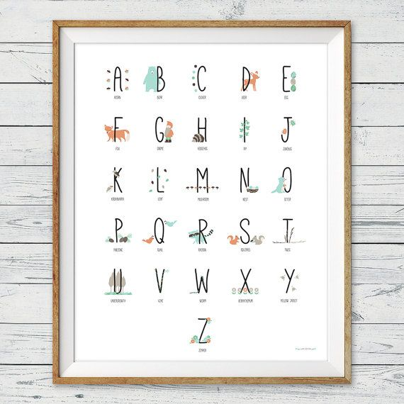 Baby Nursery Art Print Dog Abc Nursery Decor Alphabet Print: Woodland Alphabet Poster, Instant Download, Abc Poster